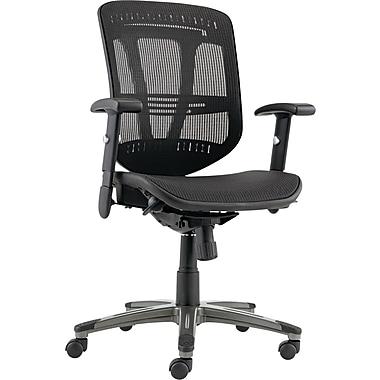 Alera ALEEN4218 Eon Mesh Mid-Back Executive Chair with Adjustable Arms, Black