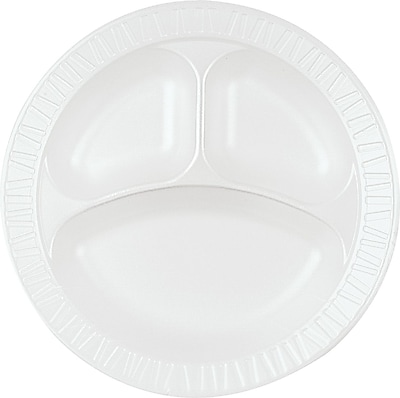 Dart 10CPHQ Dinnerware Plate; 3 Compartments, Foam,