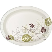 "Dixie Ultra® SX11PLPATH Heavyweight Oval Platter, 8 1/2""(W) x 11""(L) x 5 1/2""(Dia), Green/Burgundy"