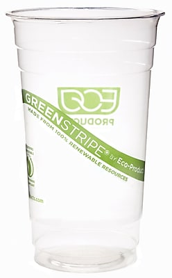 Eco-Products GreenStripe CC24-GS Cold Cup, Clear, 24 oz., 1000/Case 150126