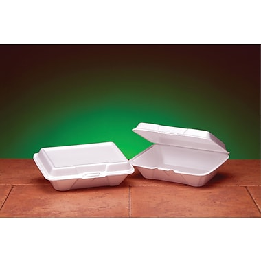 Genpak® 20500 Carryout Hinged Container, White, 2 7/8