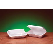 "Genpak® 20500 Carryout Hinged Container, White, 2 7/8""(H) x 6 1/2""(W) x 9.19""(D)"