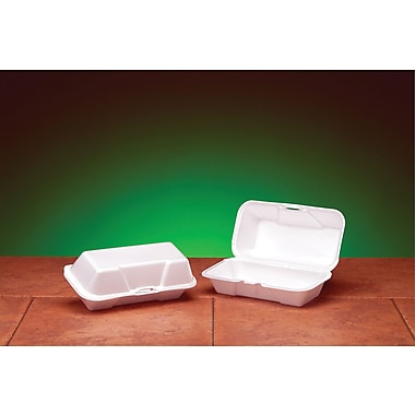 Genpak® 21600 Hoagie Hinged Container, White, 3.06