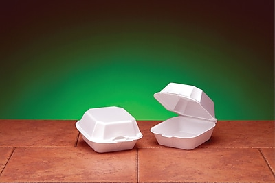 Genpak® 22500 Large Sandwich Hinged Container, White, 3 1/4