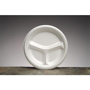 Genpak® 83900 Foam Plate, 3 Compartments, White, 8 22/25