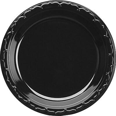 Silhouette Black Plastic Plates, 10 1/4 Inches, Round