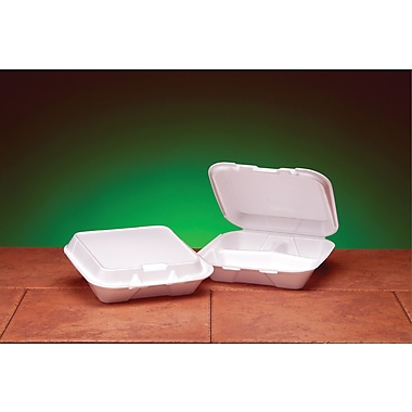 Genpak® SN223 Small Snap-It Hinged Dinner Container, White, 2.38