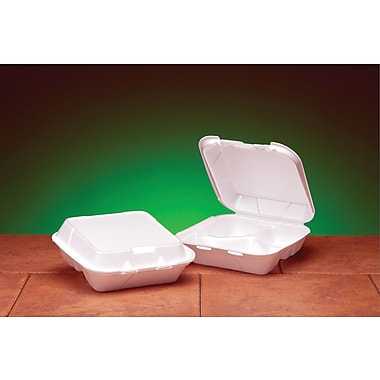 Genpak® SN243 Medium Snap-It Hinged Dinner Container, White, 3