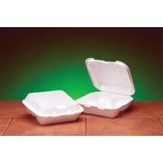"Genpak® SN243 Medium Snap-It Hinged Dinner Container, White, 3""(H) x 8""(W) x 8 1/4""(D)"