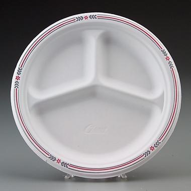 Chinet® Classic White™ POPLIN Dinnerware Plate, 3 Compartments, Molded Fiber, 500/Carton