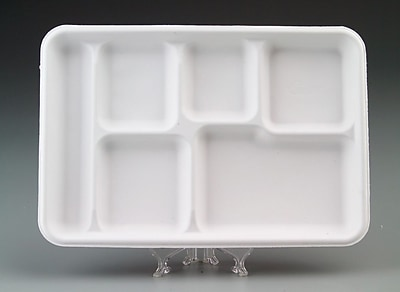 Chinet® VALISE Cafeteria Tray, White, 12 1/2