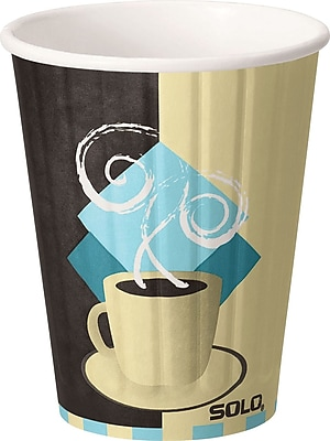 SOLO Duo Shield IC12-J7534 Hot Cup, 12 oz. White/Chocolate/Light Blue, 600/Carton 150311
