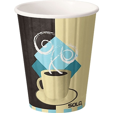 SOLO® Duo Shield® IC12-J7534 Hot Cup, 12 oz. White/Chocolate/Light Blue, 600/Carton