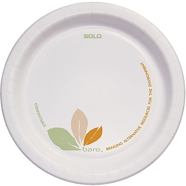 SOLO® BARE® ECO-FORWARD® PERFECT PAK® OFMP9 Dinnerware Plate, Clay Coated Paper, 250/Case