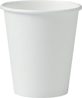 Solo Single-Sided Poly Paper Hot Cups, 6oz, White, 50/Pack, 20 Packs/Carton