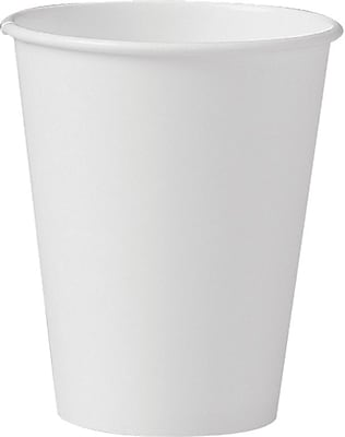 SOLO® 378W-2050 Single Sided Poly Paper Hot Cup, 8 oz. White, 1000/Carton