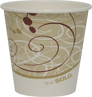 SOLO 410SMSYM Single Sided Poly Paper Hot Cup, 10 oz. Beige/White/Red, 1000/Carton 150291