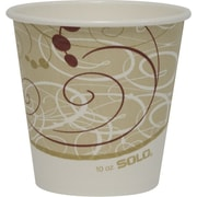 SOLO® 410SMSYM Single Sided Poly Paper Hot Cup, 10 oz. Beige/White/Red, 1000/Carton