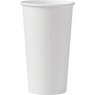 SOLO® 420W Single Sided Poly Paper Hot Cup, 20 oz. White, 600/Carton