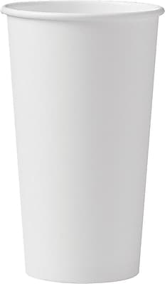 Solo Polycoated Hot Paper Cups, 20 Oz, White, 600/Ct