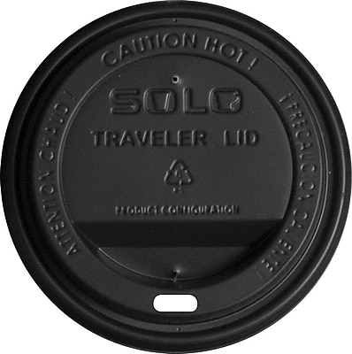 SOLO® Traveller® TLB316 Drink-Thru Lid For 10 - 24 oz. Cup, Black, 1000/Pack
