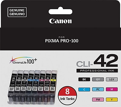 Canon CLI-42 Black and C/M/Y/GY/LGY/PC/PM Color Ink Cartridges (6384B007), Combo 8/Pack 148288