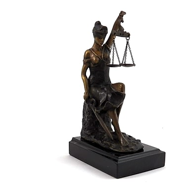 Bey-Berk Bronze Seated Lady Justice Sculpture, Marble Base