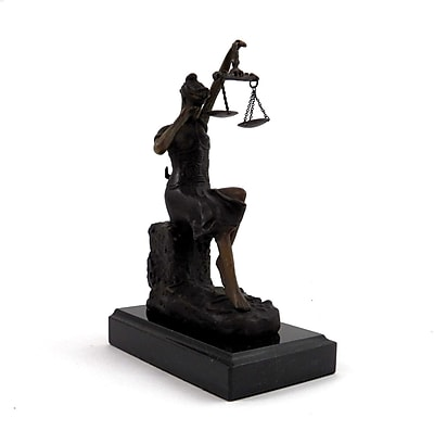 Bey-Berk Bronze Crying Lady Justice Sculpture, Marble Base