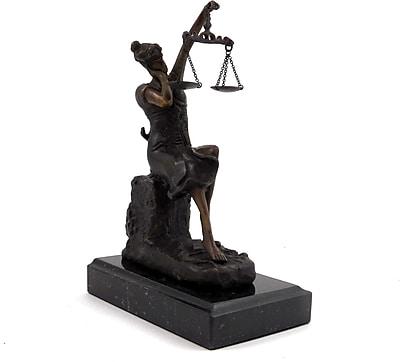 Bey-Berk Bronze Sleeping Lady Justice Sculpture, Marble Base