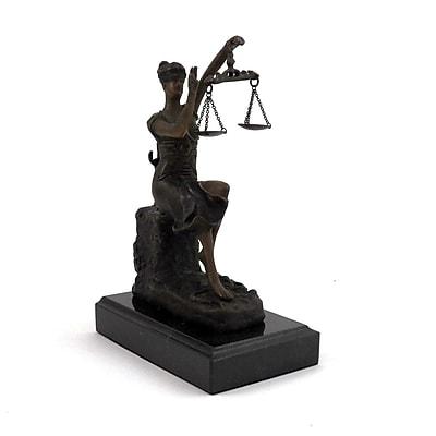 Bey-Berk Bronze Victorious Lady Justice Sculpture, Marble Base