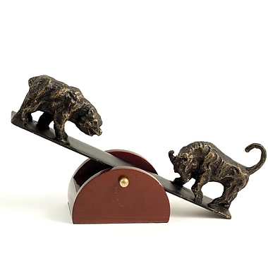 Bey-Berk Bronze See-Saw Bull and Bear Sculpture with Teak Wood Base (B123)
