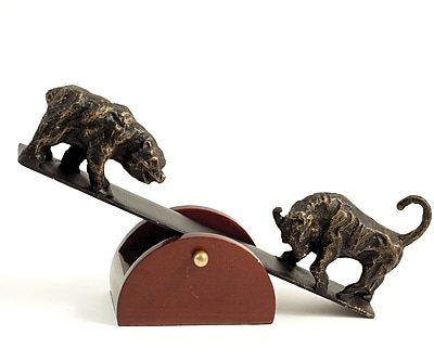 Bey-Berk B123 See-Saw Metal Bull and Bear Sculpture With Teak Wood Base