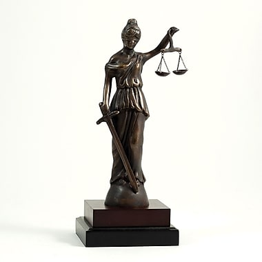 Bey-Berk Brass Lady Justice Sculpture, Wood Base