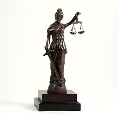 Bey-Berk B132 Brass Lady Justice Sculpture, Wood Base