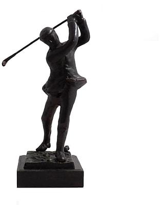 Bey-Berk Bronze Finish Metal Golfer, Marble Base, Small, 10