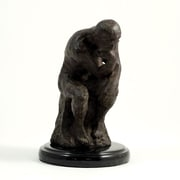 Bey-Berk Thinker Sculpture  With Cast Metal and Bronzed Finish, Marble Base