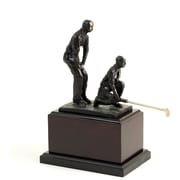 Bey-Berk Bronzed Double Golfer on Wood Base