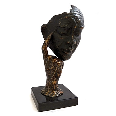 Bey-Berk Thinking Man Sculpture With Bronzed Finish