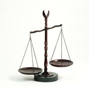 "Bey-Berk 12 1/2""  Scales of Justice Statue With Eagle Finial, Bronze Finished, Green Marble Base"