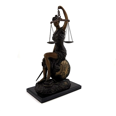 Bey-Berk Limited Edition Seated Lady Justice with Globe on Marble Base, Bronze (B183)