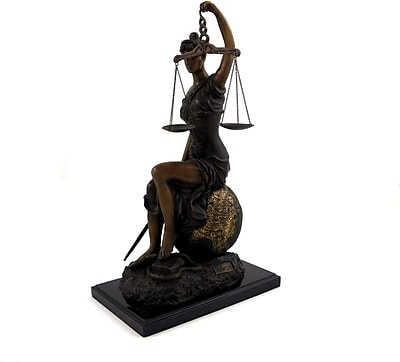 Bey-Berk B183 Limited Edition Bronze Seated Lady Justice With Globe, Marble Base