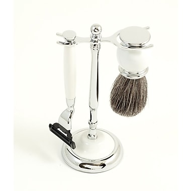 Bey-Berk Mach 3 Razor and Pure Badger Brush With Chrome Plated White Enamel Finish