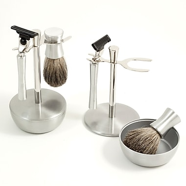 Bey-Berk Mach 3 Razor and Pure Badger Brush With Chrome and Stainless Soap Dish and Stand