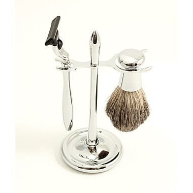 Bey-Berk Mach 3 Razor and Pure Badger Brush With Chrome Stand