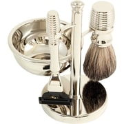 Bey-Berk BB10 Mach 3 Razor and Pure Badger Brush With Soap Dish on Chrome Stand