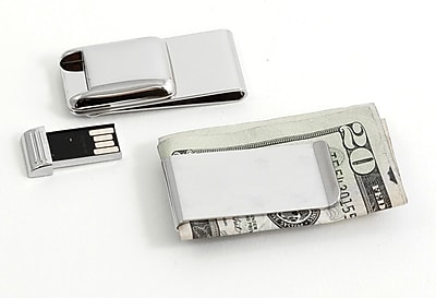 Bey-Berk BB120S Nickel Plated Money Clip With 2 GB Flash Drive