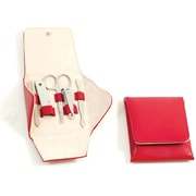 Bey-Berk 5 Piece  Leather Metal Frames Set, Red
