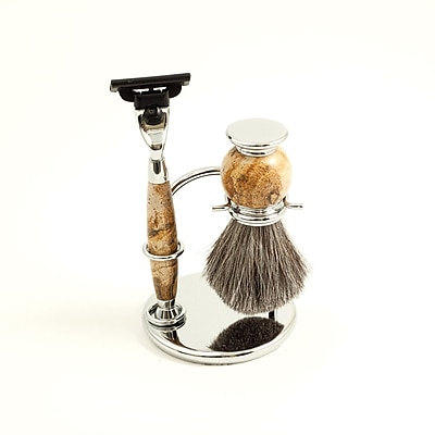 Bey-Berk Mach 3 Razor and Pure Badger Brush With Tan Chrome Stone Stand