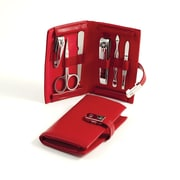 Bey-Berk 6 Piece  Leather Metal Frames Set, Red