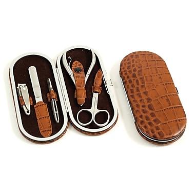 Bey-Berk 5-Piece Manicure Set with Crocodile Leather Case, Brown (BB199)